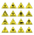 hazard warning triangual yellow icon set on white vector image