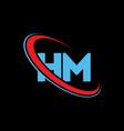 hm h m letter logo design initial letter hm vector image vector image