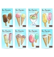 Ice cream menu dessert sketch banner set vector image
