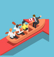 isometric businessman rowing team going forward vector image vector image