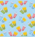 kawaii fries chips and soda food seamless pattern vector image