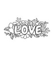 line style floral love word bouquet border vector image vector image