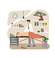 massage therapist masseur giving back massage to vector image vector image