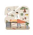 massage therapist masseur giving back vector image vector image