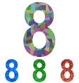 Mosaic font design set - number 8 vector image vector image