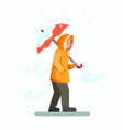people walking in snow fall wear yellow jacket vector image vector image