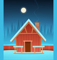 red wooden cabin in snow vector image vector image
