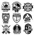 school emblems college athletic teams sports vector image vector image