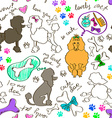 seamless pattern poodle dogs vector image