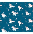 seamless pattern with cute unicorns stars vector image vector image