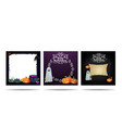 set halloween square blank templates with vector image