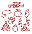 Set of Merry Christmas holiday symbols and object vector image vector image