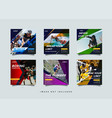 sport social media post design template vector image vector image