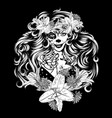 sugar skull witch woman in flower crown portrait vector image