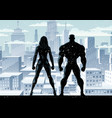 superhero couple watch winter 2 vector image vector image