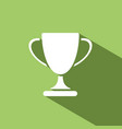 trophy icon with shadow on green background vector image vector image