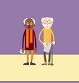 two elderly man - african-american and white vector image