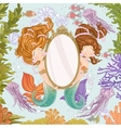 Two lovely mermaidholding a big mirror undersea vector image vector image