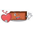 with heart brick mascot cartoon style vector image vector image
