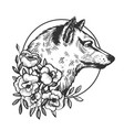 wolf head animal engraving vector image vector image