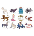 zodiac signs collections medieval style isolated vector image vector image