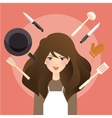 beautiful woman smile around cooking tools kitchen vector image