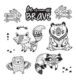 Forest tribal animals set Black and white vector image