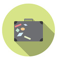 Flat design modern of traveling bag icon with long vector image