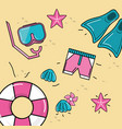 nice dive tools with float and shells with vector image