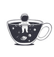 astronaut swims in a cup with space vector image vector image