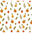 autumn seamless pattern with colorful fruits and vector image