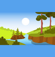 beautiful forest landscape background bright vector image