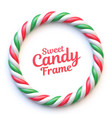 candy cane circle frame on white background vector image vector image