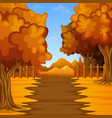 cartoon autumn landscape with mountains vector image