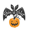 cartoon flying bat with spread wings and trick or vector image vector image