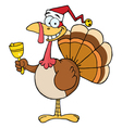Christmas Turkey Ringing A Bell vector image vector image