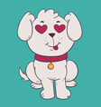 Cute Dog in Love with Hearts Instead of Eyes vector image vector image