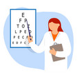 doctor oculist pointing letters at eye chart vector image