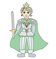 Funny cartoon prince on white background vector image vector image