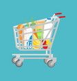 grocery shopping cart on white full supermarket vector image