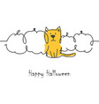 halloween cat and pumpkins vector image