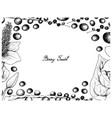 hand drawn frame of acai berries and lizard tail vector image