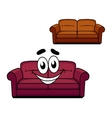 Happy cartoon upholstered couch vector image vector image