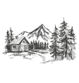 house in mountain landscape hand drawn vector image vector image
