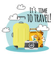 its time to travel baggage camera background vector image