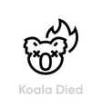 koala died on fire icon editable line vector image