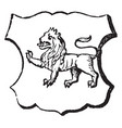 lion passant have passing or walking lino vintage vector image vector image