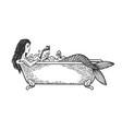 mermaid reading book in bath sketch engraving vector image