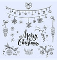 merry christmas sketch set vector image vector image