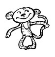 monkey character hand-drawn on white background vector image vector image